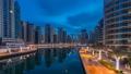 View of Dubai Marina Towers and canal in Dubai 22630054