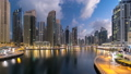 View of Dubai Marina Towers and canal in Dubai 22630059