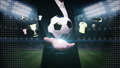 Businesswoman open palm,Soccer ball icon, football 25129014