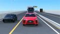 红色无人值守驾驶SUV和卡车在高速公路上运行 25452264