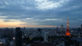 東京タイムラプス 東京タワーと大都会 富士山 フレア 日没から夜景までの変化 長時間撮影 FIX 26046031