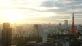 東京時間流逝東京鐵塔和整個市中心日落日落太陽,日落曝光固定狹窄 26192283