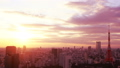 東京時間流逝東京鐵塔和整個市中心日落日落太陽,日落曝光固定分級 26192285