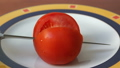 Close up. Red ripe tomato cut into two halves. 26499183