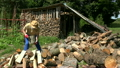 Worker prepare firewood for cold season. FullHD 26714048