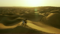 Aerial drone of Middle Eastern male camel owners in desert convoy 26751741
