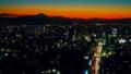 東京タイムラプス 富士山に沈む夕日と渋谷中心街 日没から夜景 長時間撮影 グレーディング 28111965