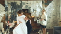 Newlyweds dancing their first dance after wedding 28156447