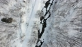 冬の北海道 雪景色と小川(空撮 移動撮影 真俯瞰) 28219442