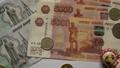 動画素材: ロシア紙幣 ロシア貨幣 ルーブル ルーブリ 札 コイン お金 外貨 経済 ロシア経済