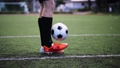 soccer player playing with ball on field 28537534