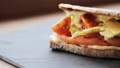 salmon panini sandwich on stone plate 28537626
