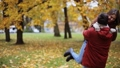 happy young couple meeting in autumn park 28537911