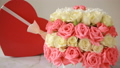 delicate bouquet of pink and white roses . box 28643811
