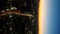 東京タイムラプス ワイドで望む富士山に沈む夕日と渋谷中心街 日没から夜景 長時間撮影 パン 28906664