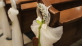 Wedding wreath on the church bench at the wedding 29444725