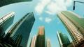 東京時間推移新宿高層建築城市超寬魚眼仰望藍天和雲傾斜評級綠色天空 29569141