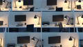 Row Of Cubicles In Office At Night 29878687
