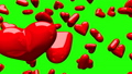Red Hearts On Green Chroma Key 30542873