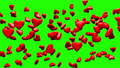 Red Hearts On Green Chroma Key 30542874