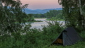 Tourist tents. Sunset, Spring flood in the river 30828484