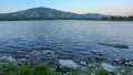 Sunset, Spring flood in the river Yenisei.  30828488