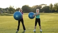 Smiling adult women doing ab exercises with balls 31346083