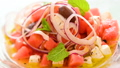 Salad with Fresh Watermelon and Feta Cheese 32592054
