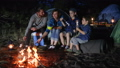 happy family fry marshmallow at fire in travel 32648181