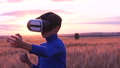 A boy stands in a wheat field at sunset in virtual 32652605