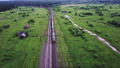 Rural landscape with the container train passing 32724650
