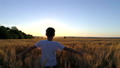 Little girl running cross the wheat field at 32838726