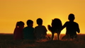 A group of children admire the sunset in a 32852430