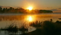 Landscape with sunrise on river in fog 33937360