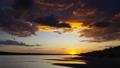 Dramatic red sunset river landscape, timelapse 33937453