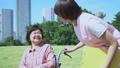 护理现场和轮椅的高级愉快地对话的助手 34970968