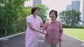 散步与关心场面鞭子的微笑的资深和帮手 34971744