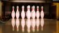 Bowling ball knocking all pins down. Strike 35086351