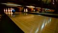Bowling ball knocking all pins down. Strike 35086352