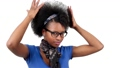 Happy african american woman her afro hair style 35099479