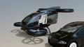 自驾车和无人机出租车。在汽车和无人机共享业务中提供快速运输的概念 35126714