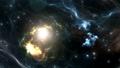 Space flight through nebula. Space travel 35137145