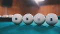 Balls for billiards are on the table in a row 35292781