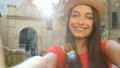 Beautiful tourist woman taking funny selfies 35325519