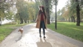 Elegant woman walking with dog in autumn park 35352659