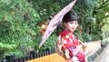 番傘をさした着物姿の女性 京都・白川南通 35592967