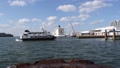 A view of the harbor with a view of a ship leaving to Korea and a cruise liner anchored in Fukuoka, Fukuoka City 36044139