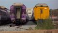 Zoom in of passenger train. 36593498