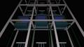 투명한 배경으로 상승을 계속 여러 전망 용 엘리베이터를 아래에서 촬영 한 애니메이션 36984859