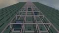 푸른 하늘과 전망 용 엘리베이터를 갖춘 고층 빌딩의 애니메이션 ._5 37074794